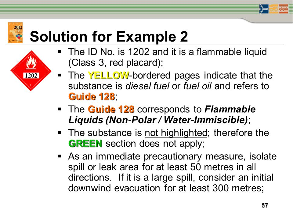 Solution for Example 2 The ID No. is 1202 and it is a flammable liquid (Class 3, red placard);