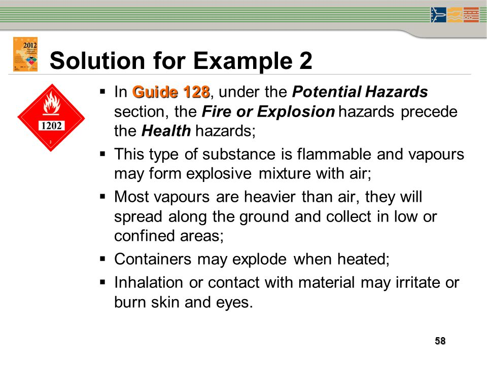 Solution for Example 2 In Guide 128, under the Potential Hazards section, the Fire or Explosion hazards precede the Health hazards;