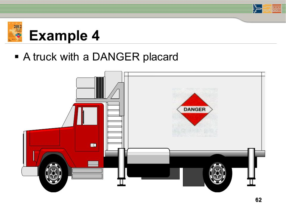 Example 4 A truck with a DANGER placard