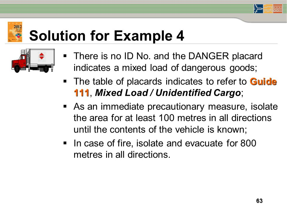 Solution for Example 4 There is no ID No. and the DANGER placard indicates a mixed load of dangerous goods;