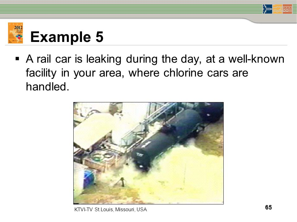 Example 5 A rail car is leaking during the day, at a well-known facility in your area, where chlorine cars are handled.