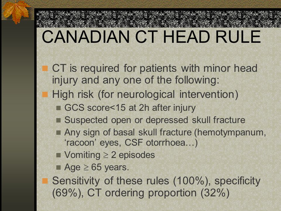 CANADIAN CT HEAD RULE CT is required for patients with minor head injury and any one of the following: