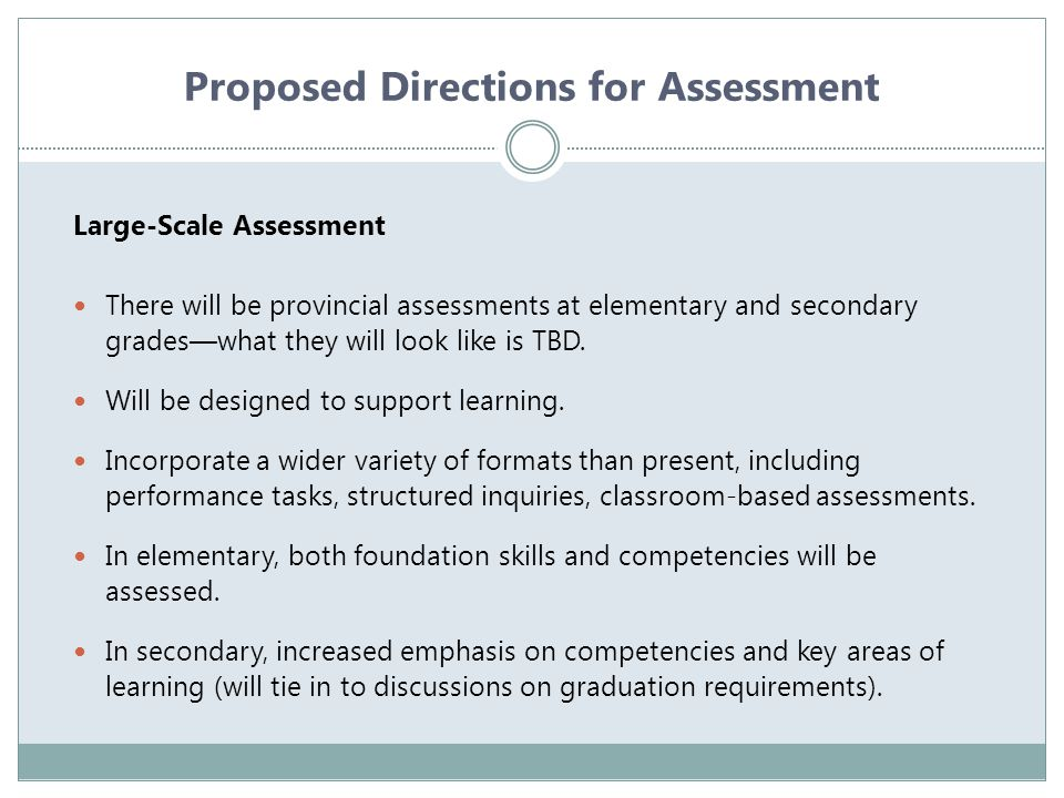 Proposed Directions for Assessment