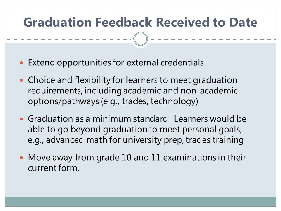Graduation Feedback Received to Date