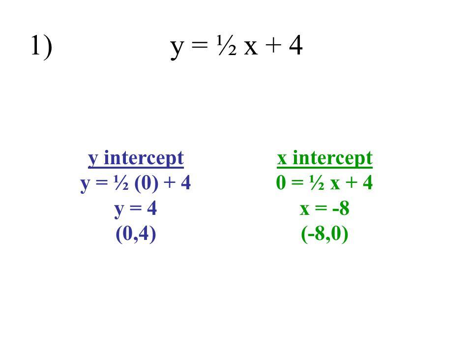 1) y = ½ x + 4 y intercept y = ½ (0) + 4 y = 4 (0,4)