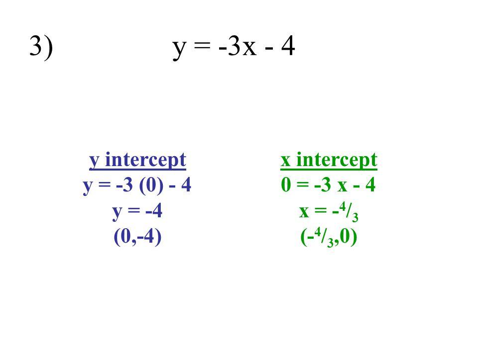 3) y = -3x - 4 y intercept y = -3 (0) - 4 y = -4 (0,-4)