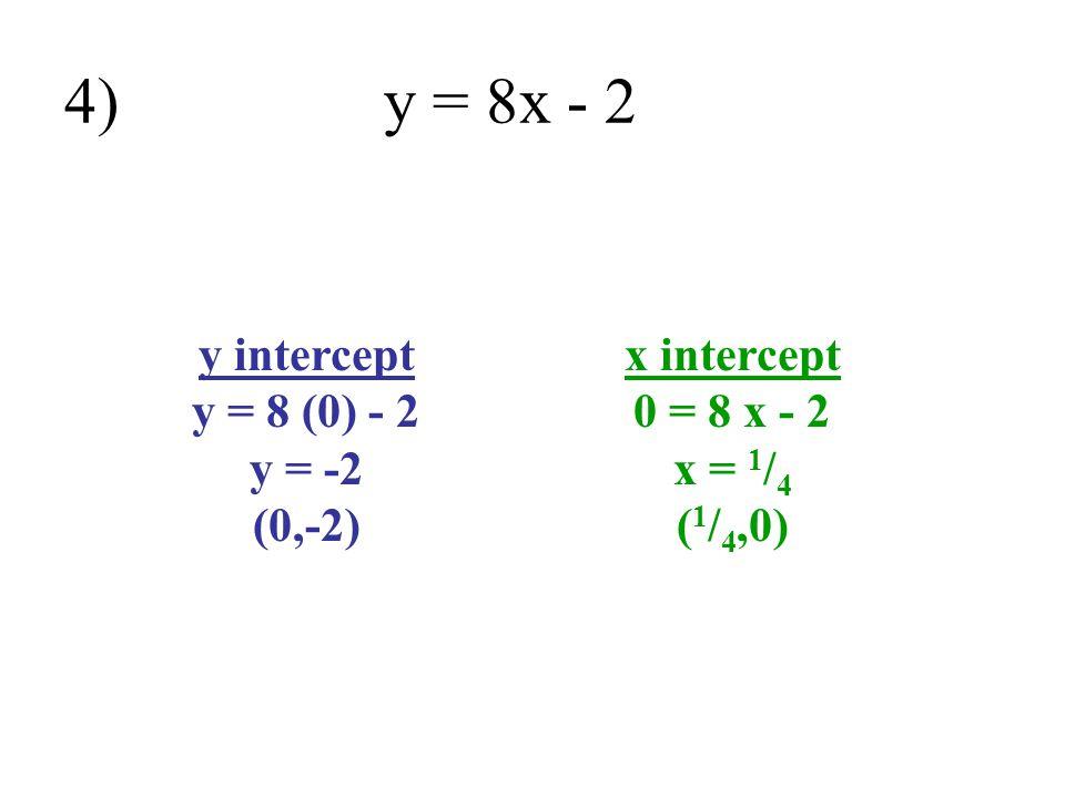 y intercept y = 8 (0) - 2 y = -2 (0,-2)