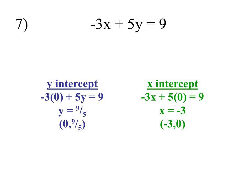 7) -3x + 5y = 9 y intercept -3(0) + 5y = 9 y = 9/5 (0,9/5)