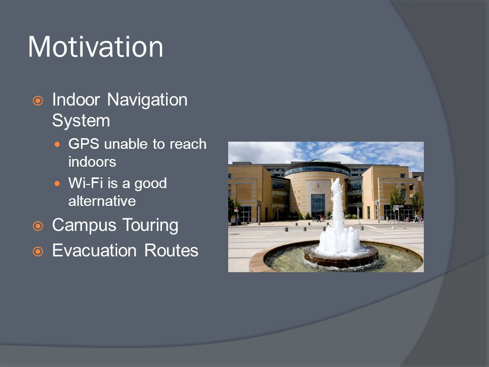 Motivation Indoor Navigation System Campus Touring Evacuation Routes