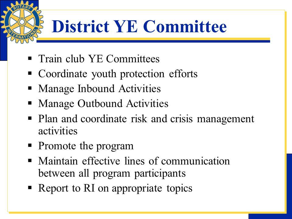 District YE Committee Train club YE Committees