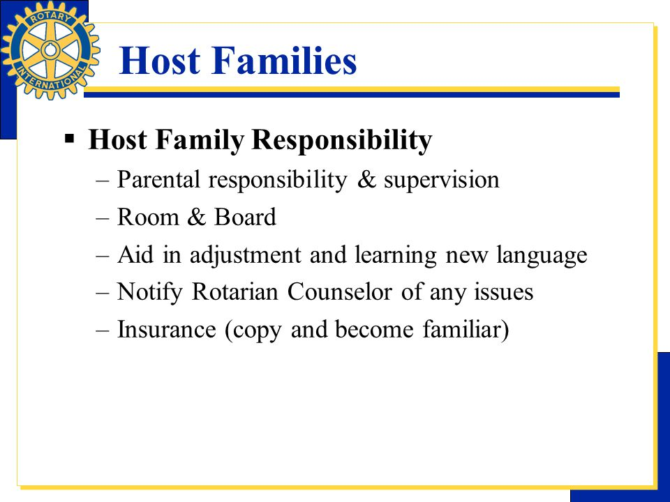 Host Families Host Family Responsibility