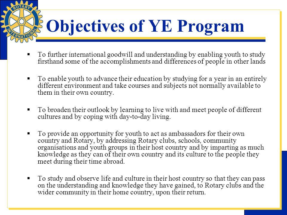 Objectives of YE Program