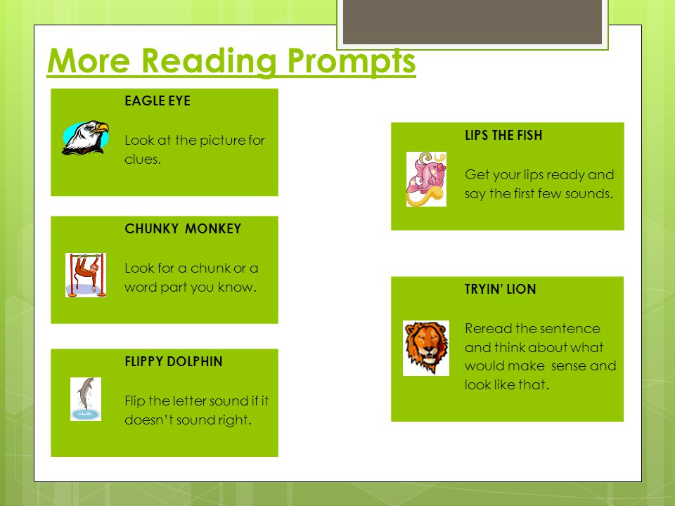 More Reading Prompts EAGLE EYE LIPS THE FISH