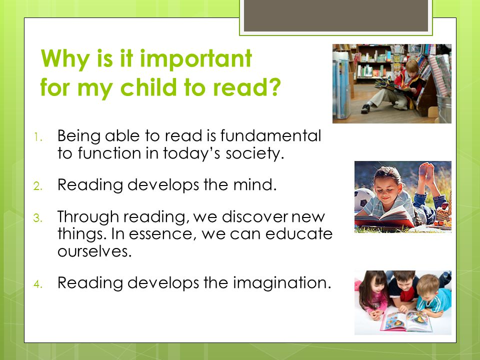 Why is it important for my child to read
