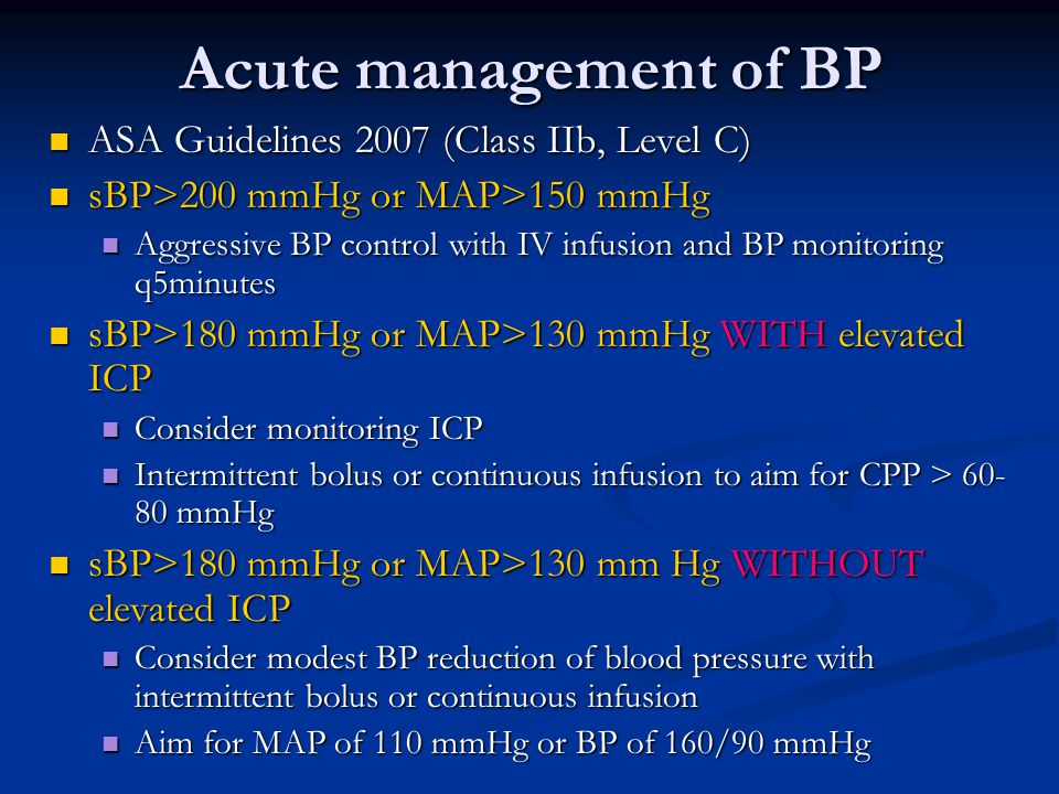 Acute management of BP ASA Guidelines 2007 (Class IIb, Level C)