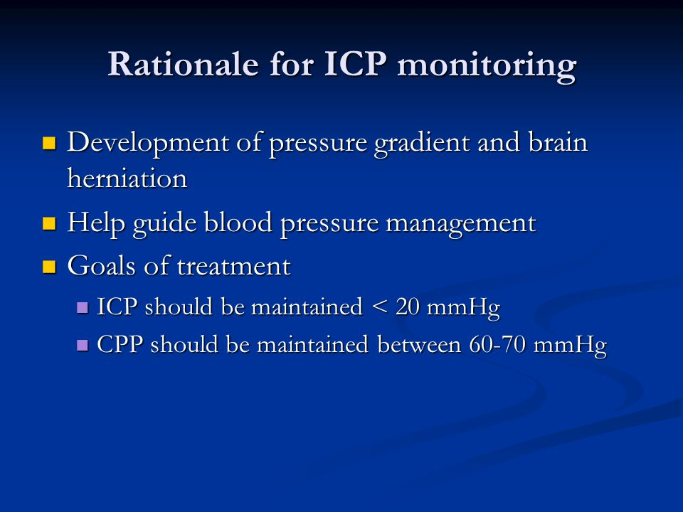 Rationale for ICP monitoring