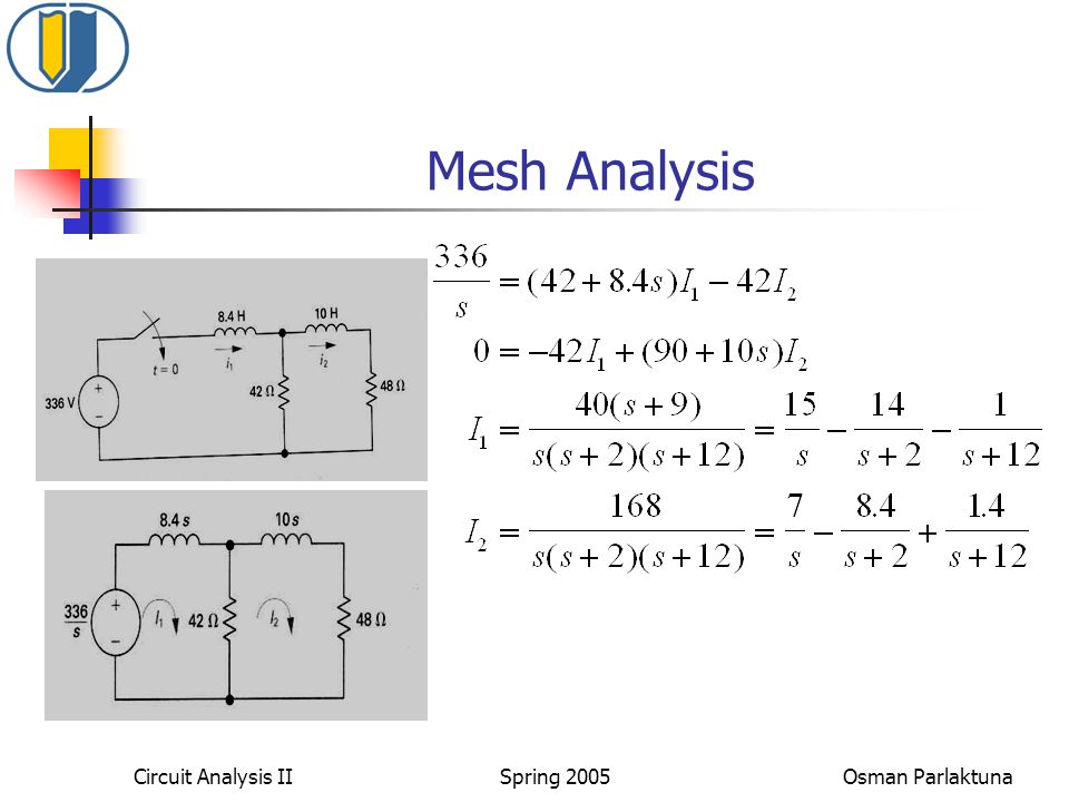 Mesh Analysis Circuit Analysis II Spring 2005 Osman Parlaktuna
