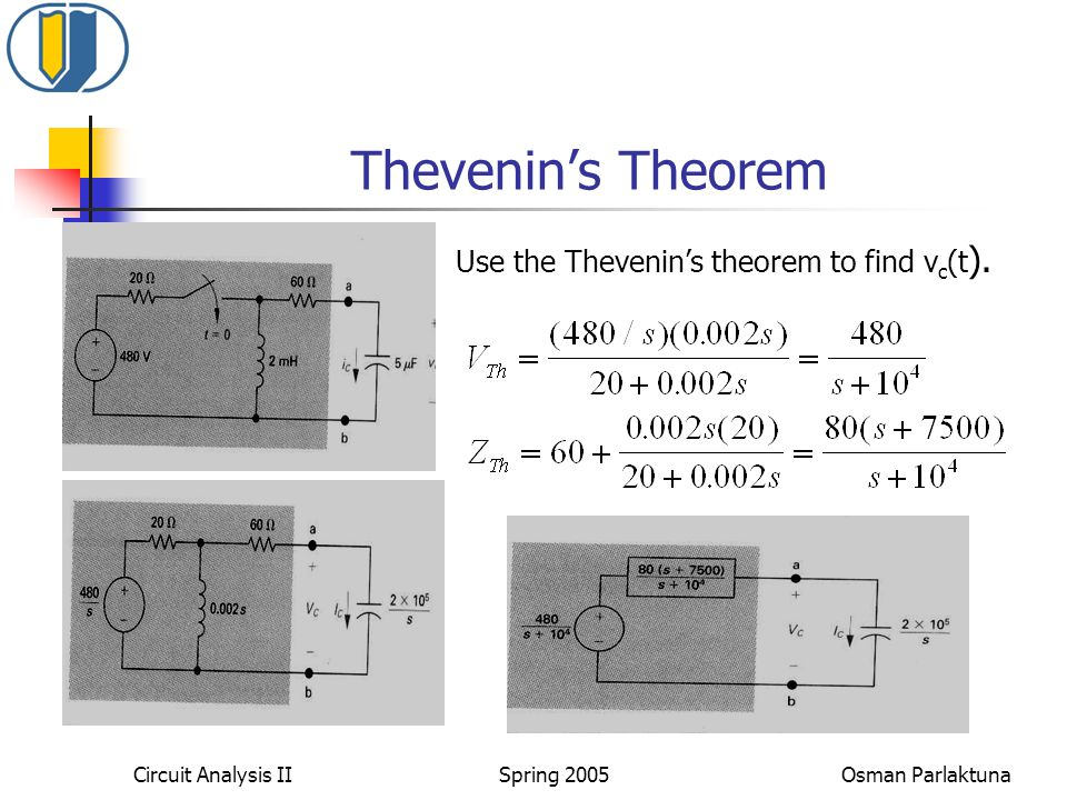 Thevenin's Theorem Use the Thevenin's theorem to find vc(t).