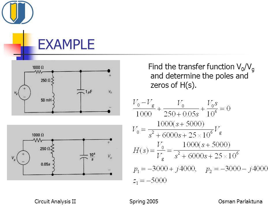EXAMPLE Find the transfer function V0/Vg and determine the poles and