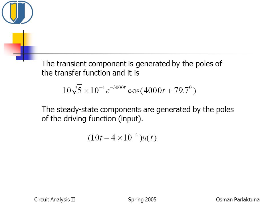 The transient component is generated by the poles of