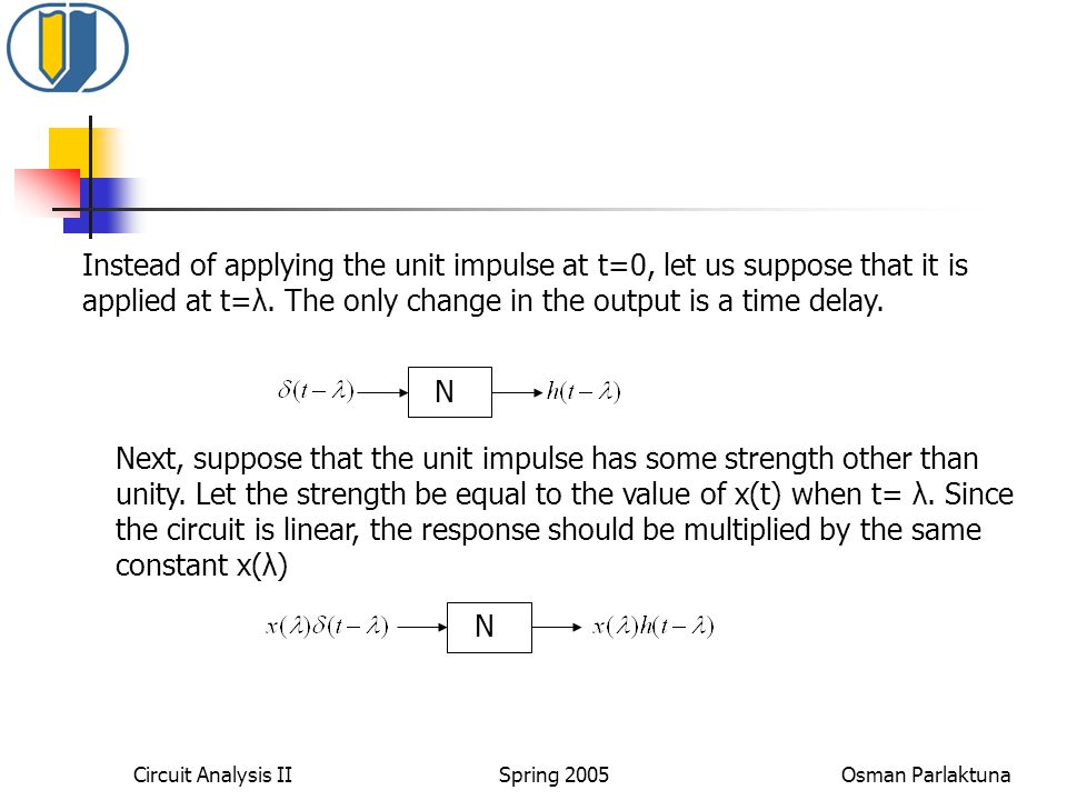 Instead of applying the unit impulse at t=0, let us suppose that it is applied at t=λ. The only change in the output is a time delay.