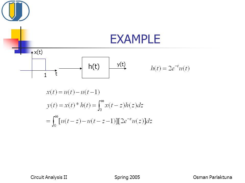 EXAMPLE h(t) x(t) y(t) t 1