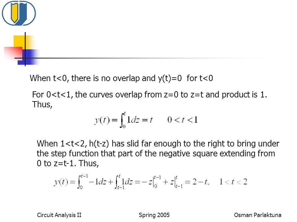 When t<0, there is no overlap and y(t)=0 for t<0