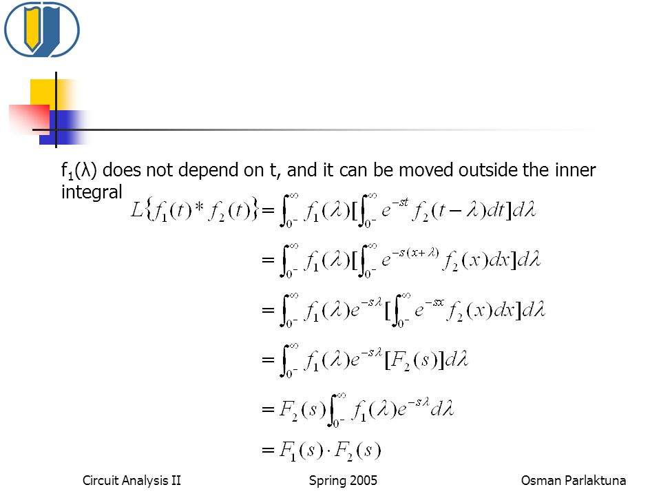 f1(λ) does not depend on t, and it can be moved outside the inner integral