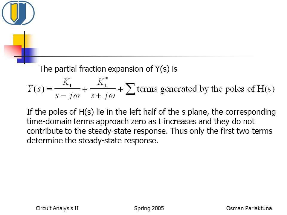 The partial fraction expansion of Y(s) is