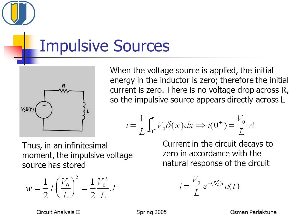 Impulsive Sources When the voltage source is applied, the initial