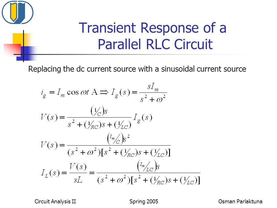 Transient Response of a Parallel RLC Circuit