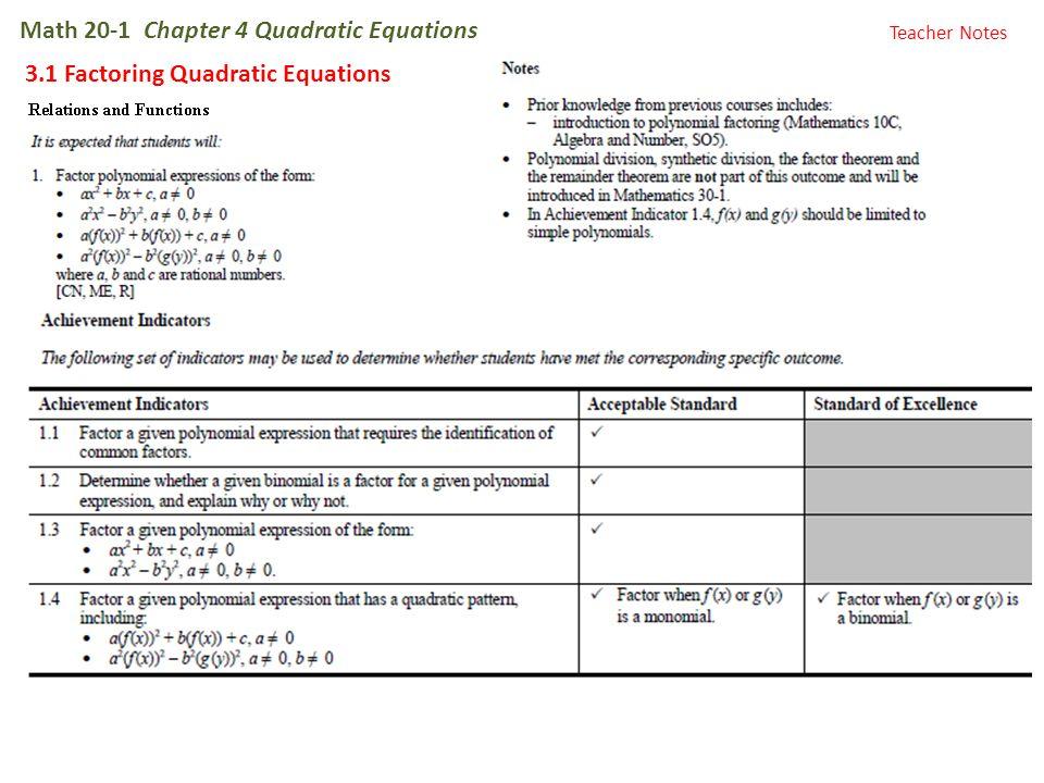 Math 20-1 Chapter 4 Quadratic Equations