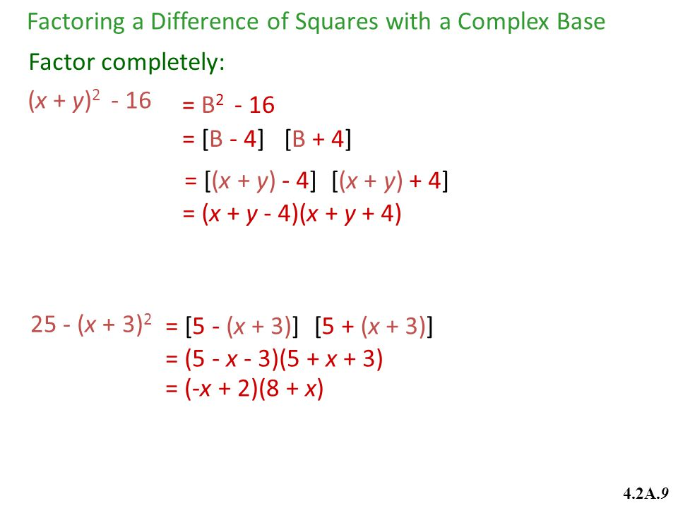 Factoring a Difference of Squares with a Complex Base