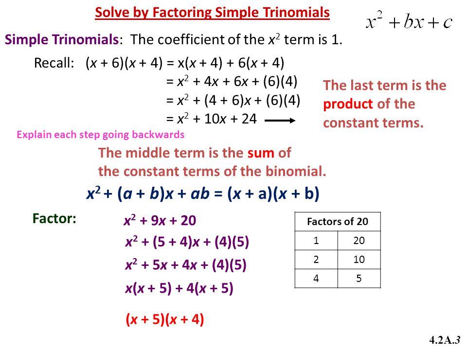 x2 + (a + b)x + ab = (x + a)(x + b)