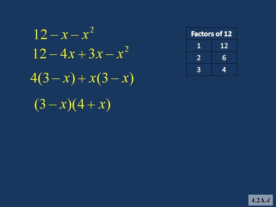 Factors of 12 1 12 2 6 3 4 4.2A.4