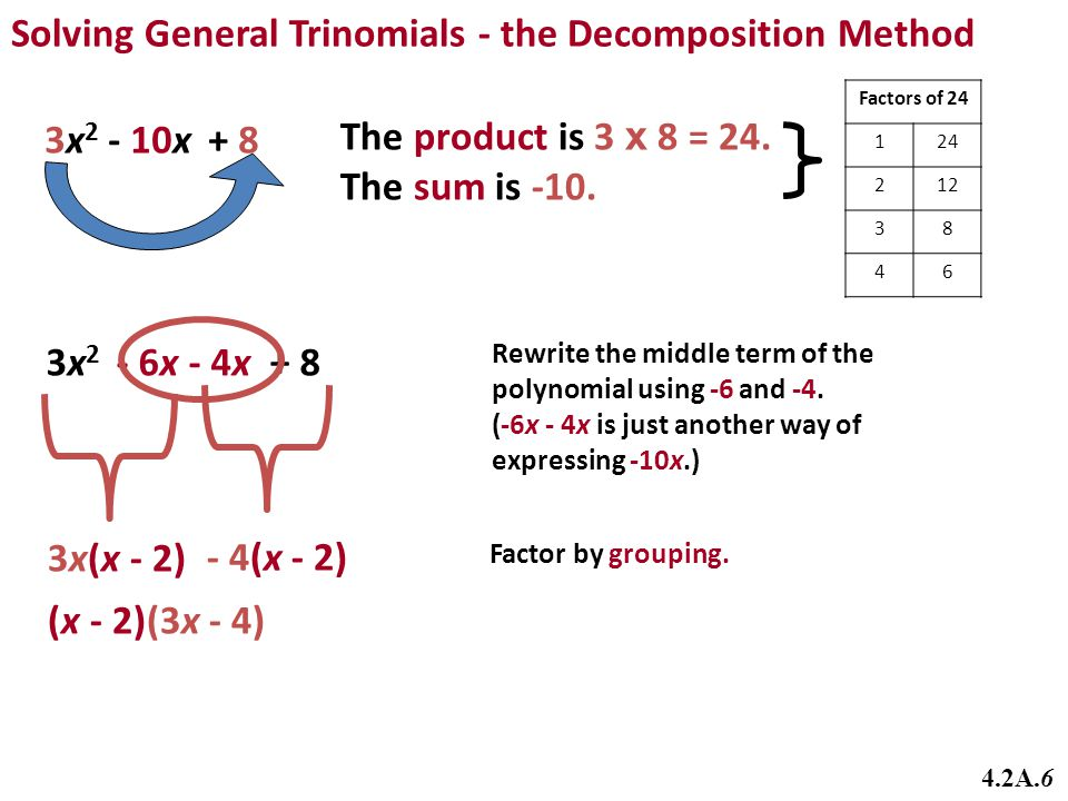 Solving General Trinomials - the Decomposition Method
