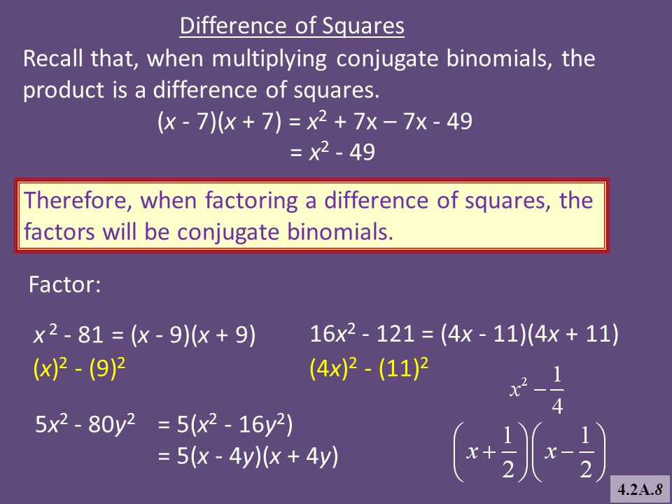 Recall that, when multiplying conjugate binomials, the