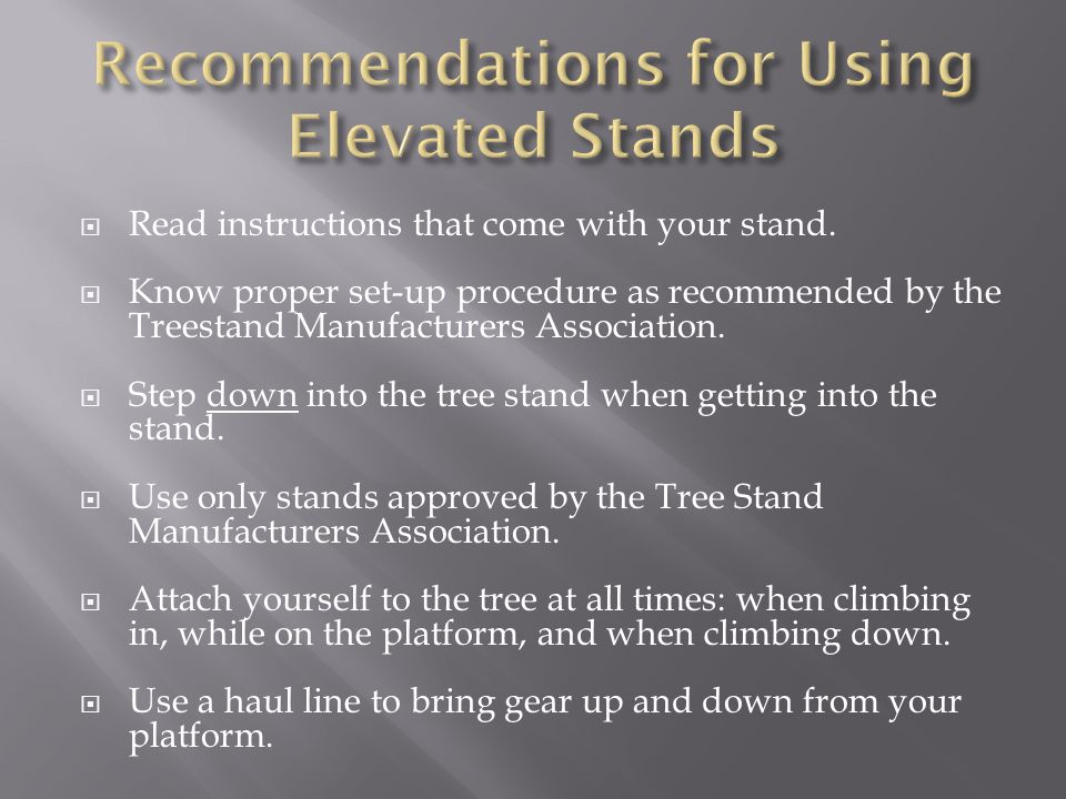 Recommendations for Using Elevated Stands