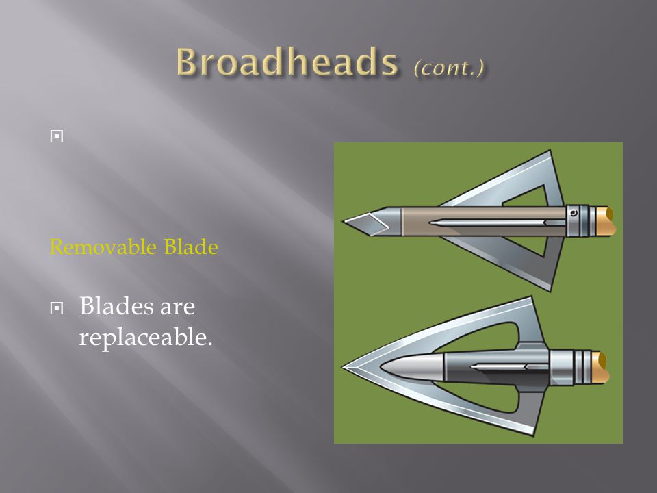 Broadheads (cont.) Removable Blade Blades are replaceable.