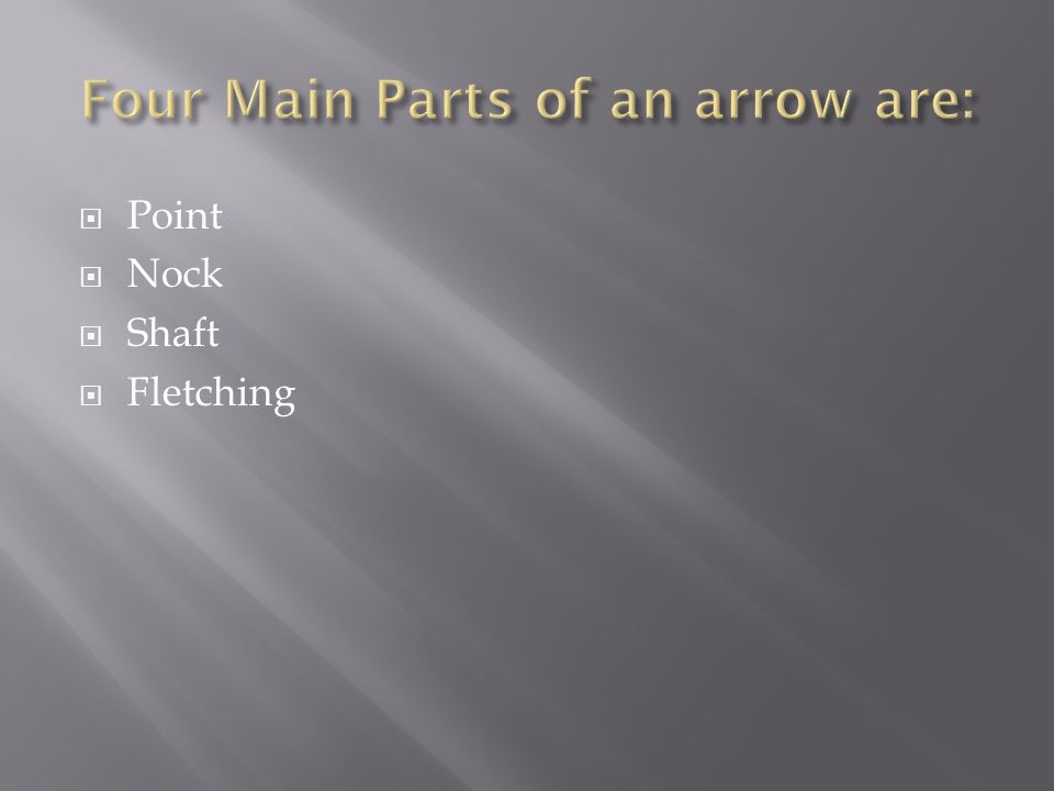 Four Main Parts of an arrow are: