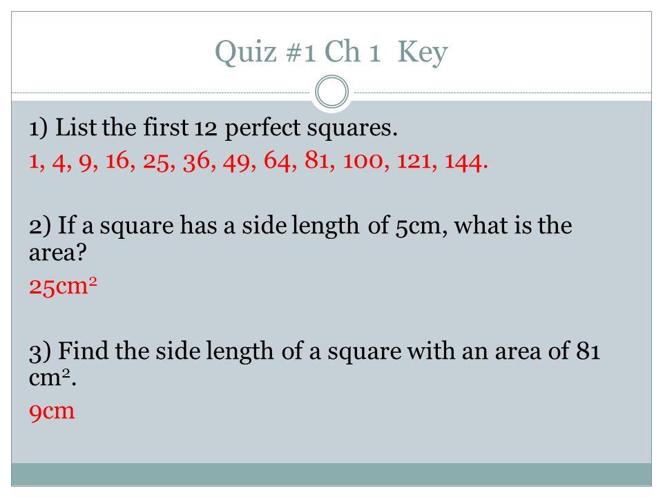 Quiz #1 Ch 1 Key