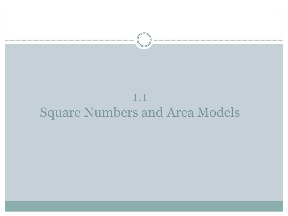 1.1 Square Numbers and Area Models