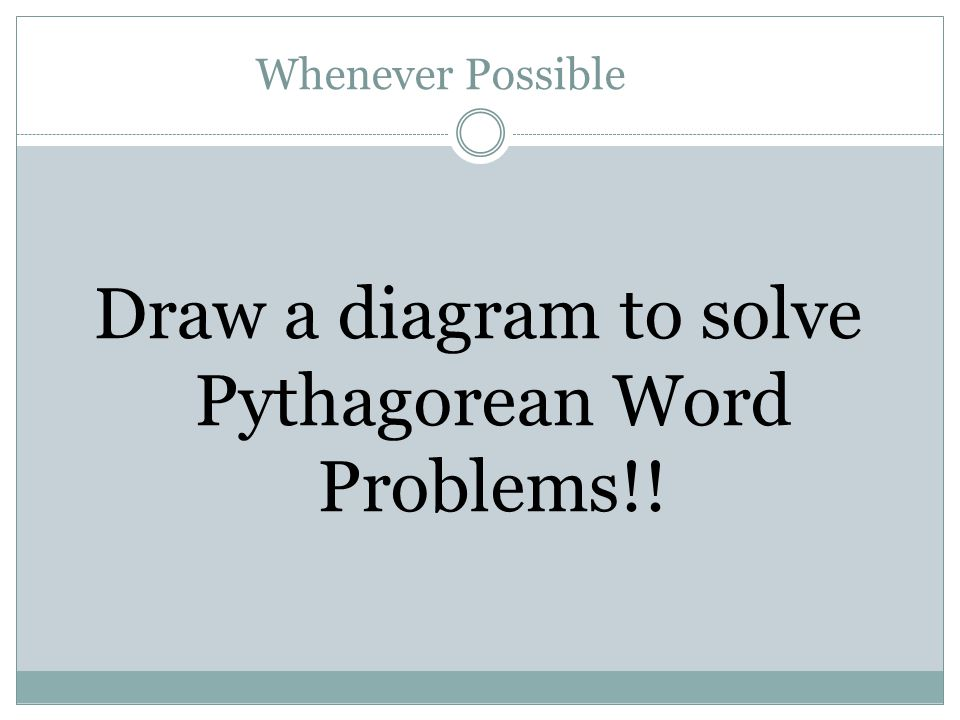 diagram to solve word problems square roots and the pythagoren theorm ppt