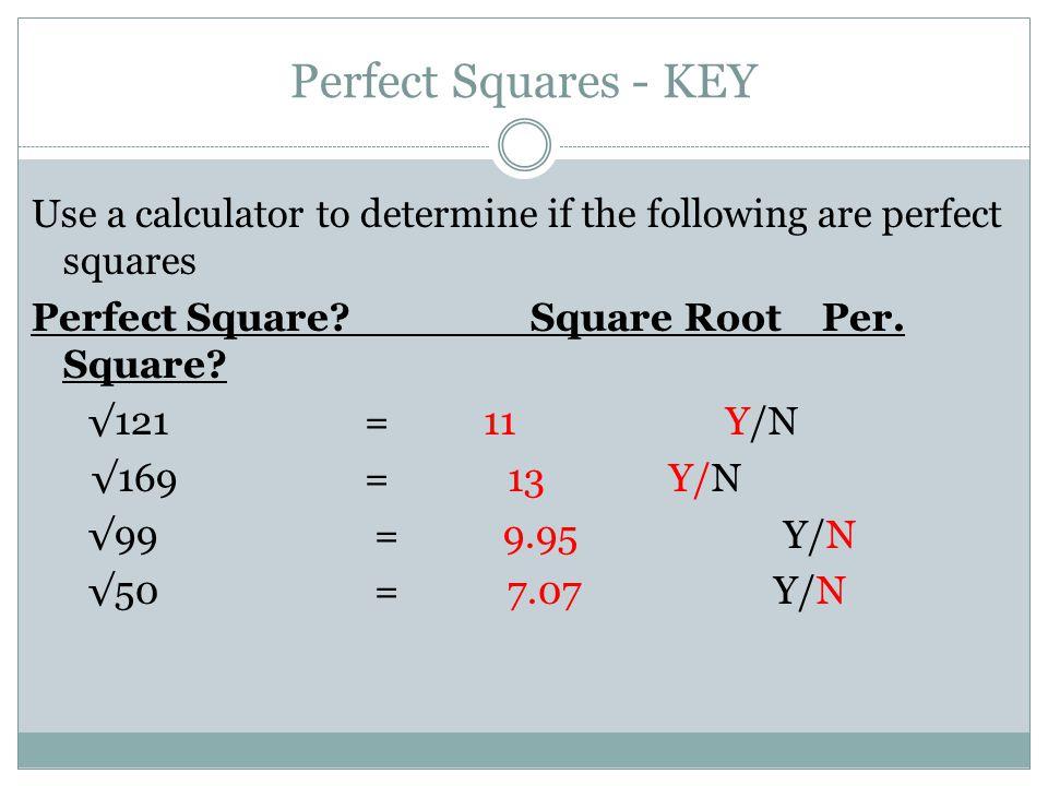 Perfect Squares - KEY
