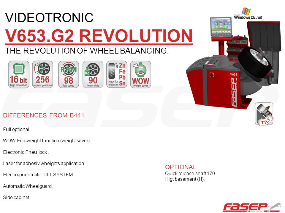 VIDEOTRONIC V653.G2 REVOLUTION THE REVOLUTION OF WHEEL BALANCING.