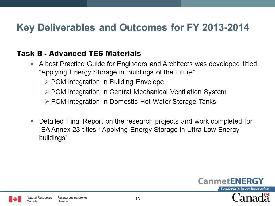 Key Deliverables and Outcomes for FY 2013-2014