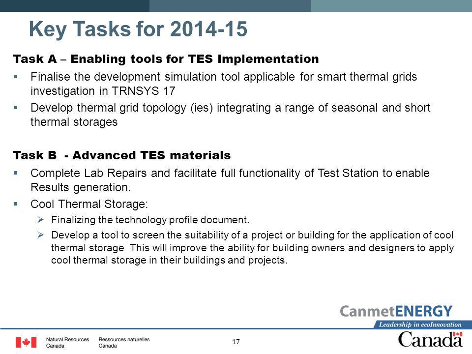 Key Tasks for 2014-15 Task A – Enabling tools for TES Implementation