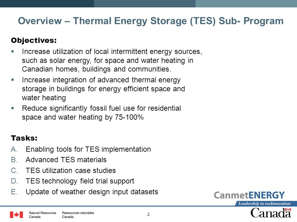 Overview – Thermal Energy Storage (TES) Sub- Program