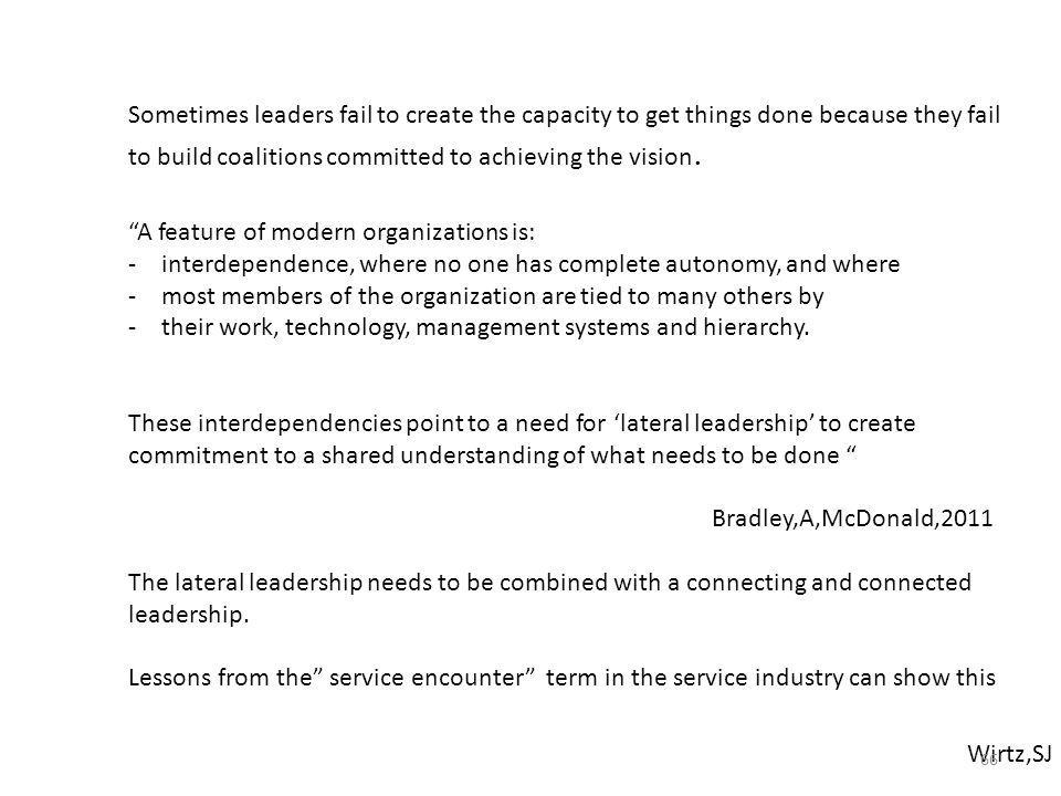Sometimes leaders fail to create the capacity to get things done because they fail to build coalitions committed to achieving the vision.