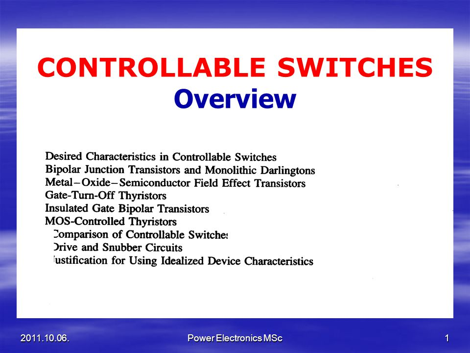CONTROLLABLE SWITCHES